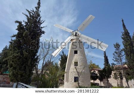 Montefiore Windmill in Yemin Moshe neighborhood.It is a famous landmark in Jerusalem, Israel. - stock photo