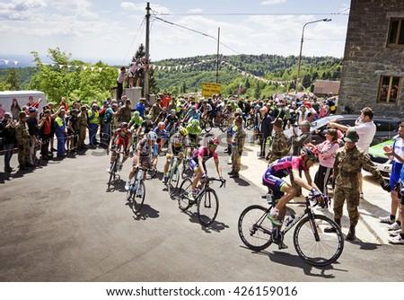 MONTEMAGGIORE, Italy - may, 20. 2016: LAMPRE MERIDA leading main group, during Giro di Italia 2016, 13st stage, 170km - stock photo
