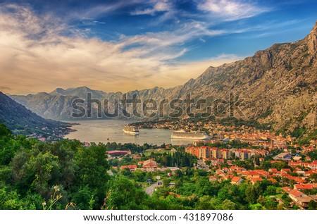 Montenegro. Bay of Kotor (Gulf of Kotor, Boka Kotorska) and walled old city - general view from St. John's Fortress. - stock photo