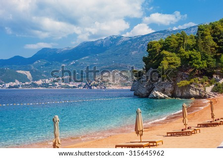 Montenegro, beauty expensive hotel in Sveti Stefan - Balkans Europe - stock photo