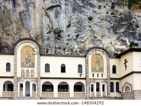 Montenegro: Facade of rocky Serbian Orthodox Christian monastery Ostrog