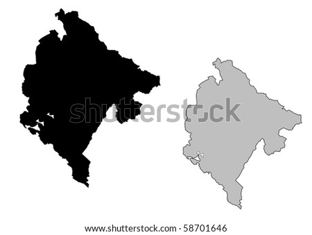 Montenegro map. Black and white. Mercator projection. - stock photo