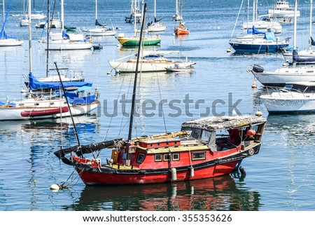 Monterey, California, USA - August 30, 2015: An Asian style boat is moored in the Monterey Harbor Marina near the Fisherman's Warf.