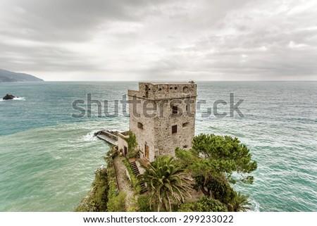 Monterosso al Mare, Cinque Terre, Italy. Mediterranean sea in La Spezia, Liguria Province. - stock photo