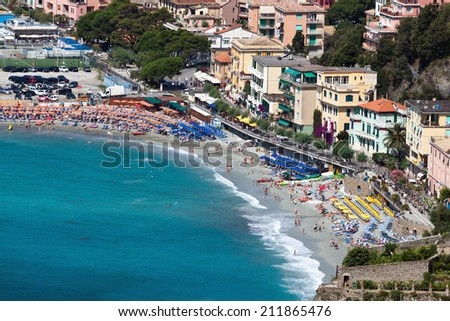 Monterosso al Mare is a town and comune in the province of La Spezia, part of the region of Liguria, northern Italy. It is one of the five villages in Cinque Terre. - stock photo