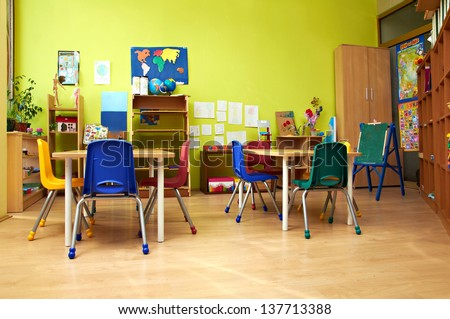 Montessori Kindergarten Preschool Classroom Stock Photo