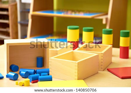 Montessori material - Kindergarten Preschool Classroom - stock photo