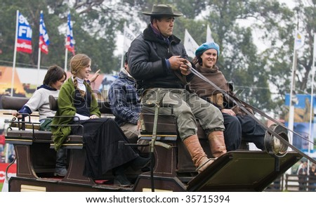 "MONTEVIDEO - SEPTEMBER 13 : Participants take a ride in the annual exhibition ""Expo Prado"" September 13, 2008 in Montevideo Uruguay. The expo is the most important rural exhibition of the country."