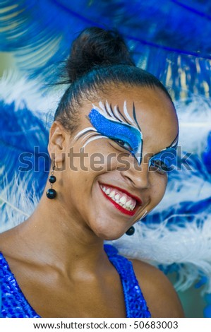 MONTEVIDEO, URUGUAY - JANUARY 31: A costumed carnival participant in the annual national festival held on January 31 2010  in Montevideo Uruguay