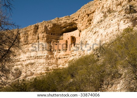 Montezuma Castle National Monument Arizona USA. - stock photo