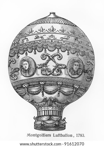 Montgolfier brothers hot air balloon from 1783 - Picture from Meyers lexicon books published between 1905-1909. - stock photo