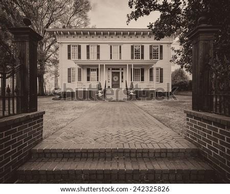 MONTGOMERY, ALABAMA - DECEMBER 3: First White House of the Confederacy on December 3, 2014 in Montgomery, Alabama - stock photo