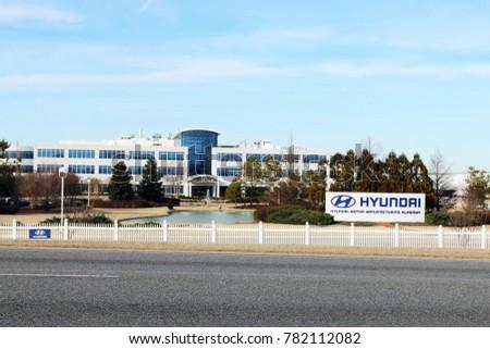 MONTGOMERY, ALABAMA DECEMBER 26, 2017: Headquarters For The Hyundai  Automotive Assembly Plant