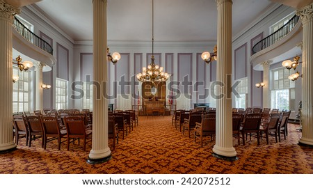 MONTGOMERY, ALABAMA - DECEMBER 3: Old House of Representatives chamber in the Alabama State Capitol building on December 3, 2014 in Montgomery, Alabama - stock photo