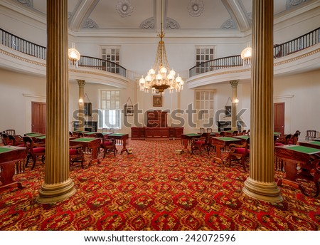 MONTGOMERY, ALABAMA - DECEMBER 3: Old Senate chamber in the Alabama State Capitol building on December 3, 2014 in Montgomery, Alabama - stock photo