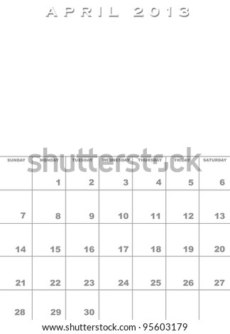 Month of April 2013 calendar template background with space for images - stock photo