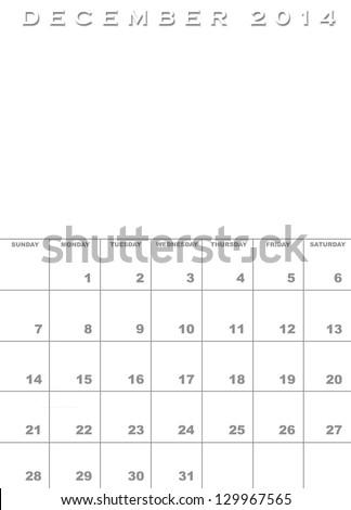 Month December 2014 Calendar Template Background Stock Illustration
