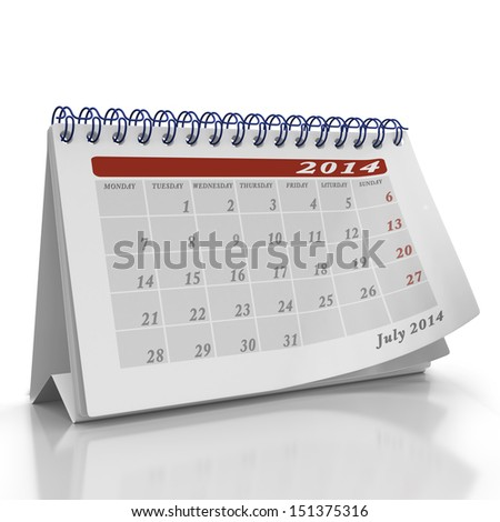 Month of July 2014 desktop Organizer on a white background with a page curl on the top page - stock photo