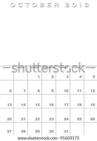 Month of October 2013 calendar template background with space for images - stock photo