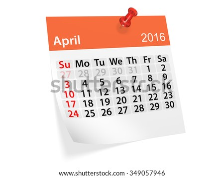 Monthly calendar for April 2016. 3d illustration - stock photo