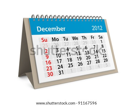 Monthly calendar for New Year 2012. December. - stock photo