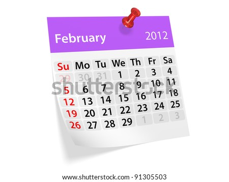 Monthly calendar for New Year 2012. February.