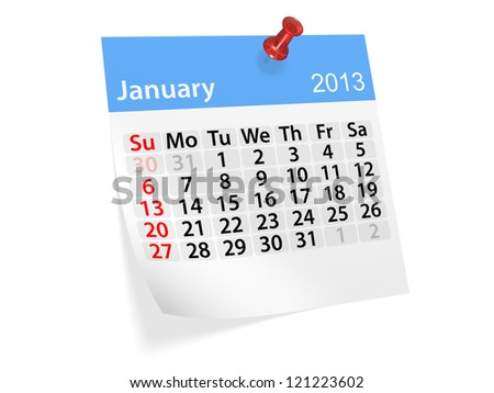 Monthly calendar for New Year 2013. January. - stock photo