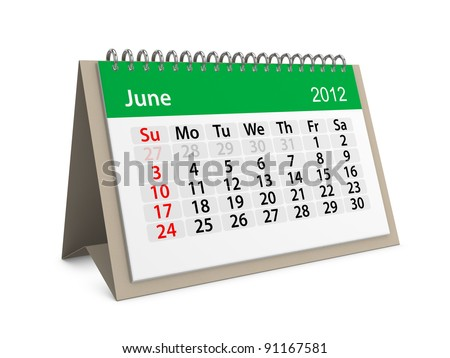 Monthly calendar for New Year 2012. June. - stock photo