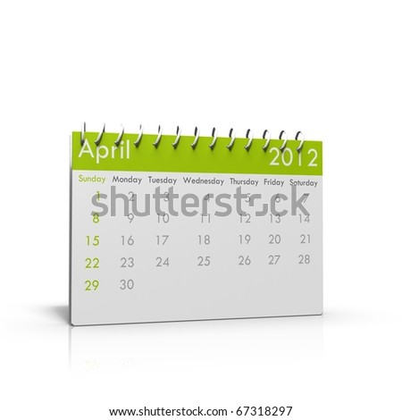 Monthly calendar for 2012 with spiral binder on top - stock photo