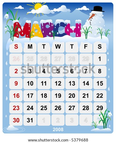 Monthly calendar March - version 2 - stock photo