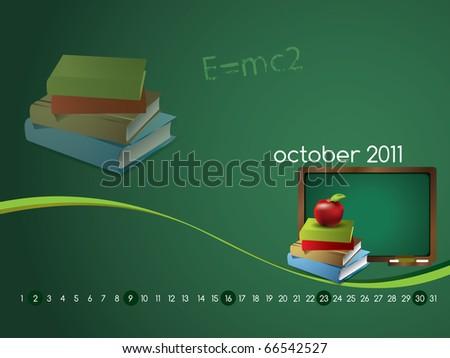 Monthly calendar wallpaper for 2011 - September - stock photo