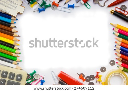 monthly calendar with the office, school and office supplies  - stock photo