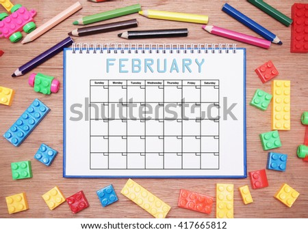 monthly planner. february - stock photo