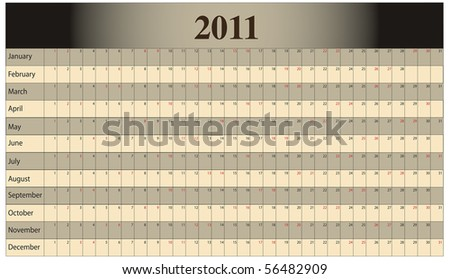 Monthly Scheduling Calendar with weekends identified by red numbers. - stock photo