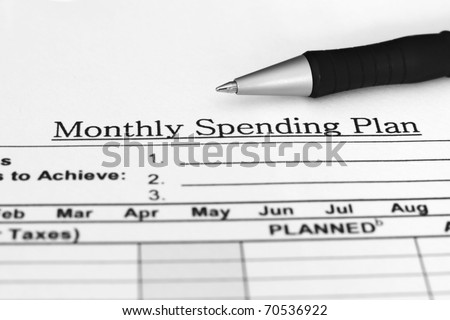 Monthly spending plan - stock photo