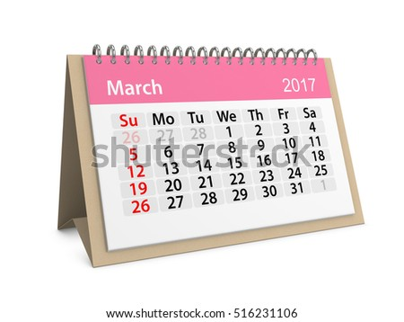 Monthly table calendar for March 2017. Colorful cardboard table calendar for March 2017. Table calendar series. 3d illustration