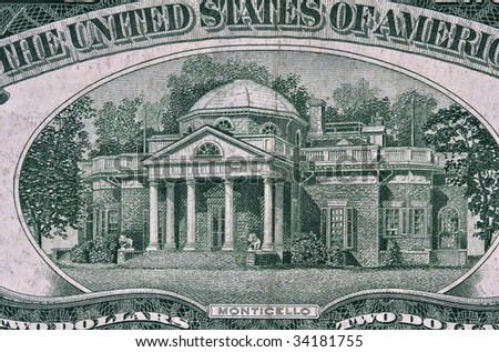 Monticello from 1953 Two Dollar Bill. - stock photo