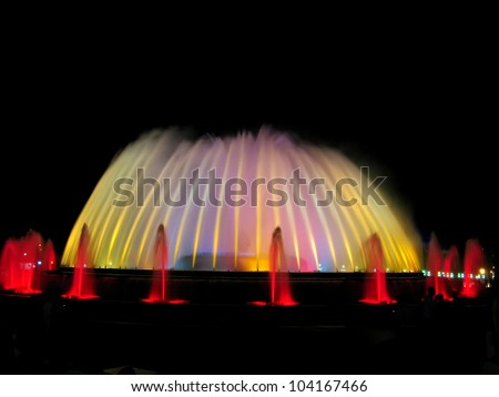 Montjuic magic fountain. A lights,colors and music spectacle at night, displayed in magic fountains situated in Barcelona (Spain)