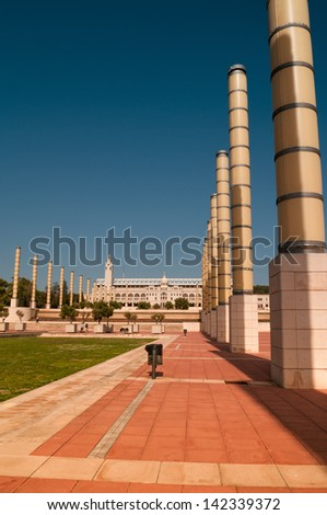 Montjuic Olympic Park in Barcelona, Spain, summer 2012 - stock photo