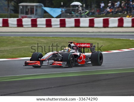Montmelo, Spain - May 10: Formula 1 team McLaren participates in the Spanish Grand Prix at the Circuit de Catalunya on May 10, 2009.  Heikki Kovalainen did not finish and Lewis Hamilton placed 9th.