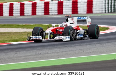 MONTMELO, SPAIN - MAY 10: Toyota participates in the Spanish Grand Prix on May 10, 2009 in Montmelo, Spain.  Timo Glock finished in 10th place and Jarno Trulli did not finish.