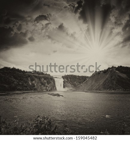 Montmorency Falls, Quebec. Beautiful Canadian landscape at sunset. - stock photo