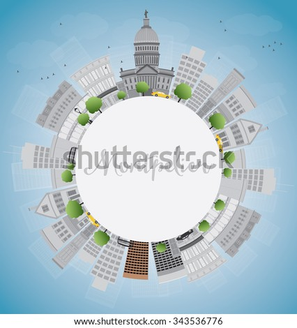 Montpelier (Vermont) city skyline with grey buildings and copy space. Business travel and tourism concept with place for text. Image for presentation, banner, placard and web site.