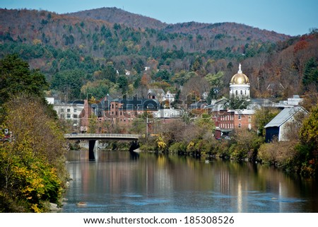 Montpelier, Vermont sits astride the Winooski River in the center of the state. - stock photo