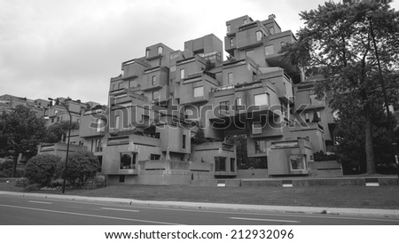 MONTREAL-August 5, 2014: A view of Habitat 67 in Montreal, Quebec, CA. Habitat 67 is considered a landmark and one of the most recognizable and significant buildings in Montreal and Canada  - stock photo
