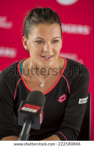 MONTREAL - AUGUST 3: Agnieszka Radwanska of Poland during press conference at the 2014 Rogers Cup on August 3, 2014 in Montreal, Canada - stock photo