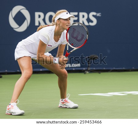 MONTREAL - AUGUST 7: Ekaterina Makarova of Russia in her third round match win over Petra Kvitova of Czech Republic at the 2014 Rogers Cup on August 7, 2014 in Montreal, Canada