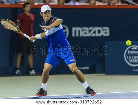 MONTREAL - AUGUST 13: Kei Nishikori of Japan during his third round win over David Goffin of Belgium to  at the 2015 Rogers Cup on August 13, 2015 in Montreal, Canada