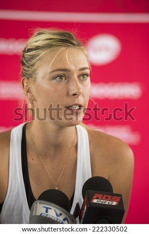 MONTREAL - AUGUST 3: Maria Sharapova of Russia during press conference at the 2014 Rogers Cup on August 3, 2014 in Montreal, Canada - stock photo
