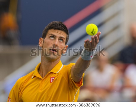 MONTREAL - AUGUST 15:   Novak Djokovic of Serbia during his semi final match win over Jeremy Chardy of France at the 2015 Rogers Cup on August 15, 2015 in Montreal, Canada - stock photo